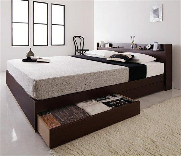 コンセント付き収納ベッド Else エルゼ スタンダードポケットコイルマットレス付き クイーン(Q×1)
