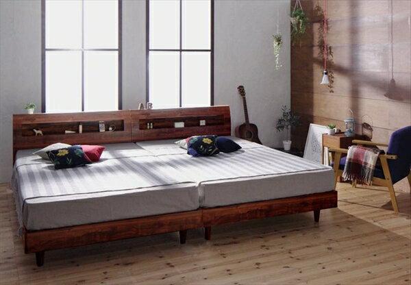 棚・コンセント付デザインすのこベッド【Mowe】メーヴェ【羊毛入りデュラテクノマットレス付き】シングル  「美しい すのこベッド 通気性 優れ 年中快適 マットレス付き」