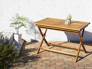 チーク天然木 折りたたみ式ベンチタイプガーデンファニチャー Nobilis ノビリス テーブル W120 ガーデン家具