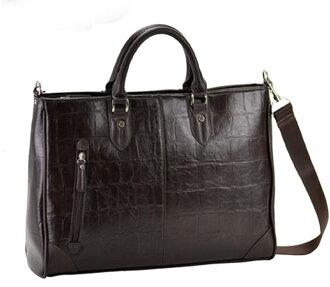 公文包男士公文包鳄鱼压纹效果巧克力 B4 43 厘米男性和女性的手提包挎包公文包袋业务袋与皮肤皮革商业和旅行为男人和女人对男人和妇女和袋巧克力棕