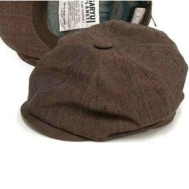 日本製 キャスケット メンズ キャスケット帽 帽子 麻100% グレンチェックのアイリッシュ リネン キャスケット(茶)55〜59cm  GARYU PLANET ガリュープラネット メンズ・紳士 男性用 女性 男女兼用 帽子
