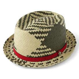ストローハット 中折れ帽 カンカン帽 トランプチャーム付バイカラー ペーパーハット(炭緑) 57.5cm GARYU PLANET ガリュープラネット メンズ・紳士 男性用 帽子 ハット ぼうし