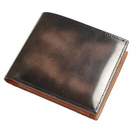 日本製 財布 メンズ 二つ折り 二つ折り財布 小銭入れあり 本革 アドバンレザー 重ね塗りと磨きの色むら 紳士用財布 男性用財布 革 牛革 レザー ブランド FESON ブラウン