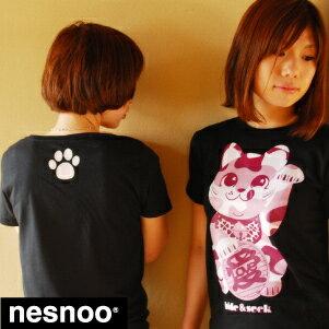 【新柄入替品】愛招猫 和柄Tシャツ