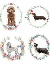 【コットン】I_love_Dog(16種類イラスト)VH-DTPオックスフォードカットクロス