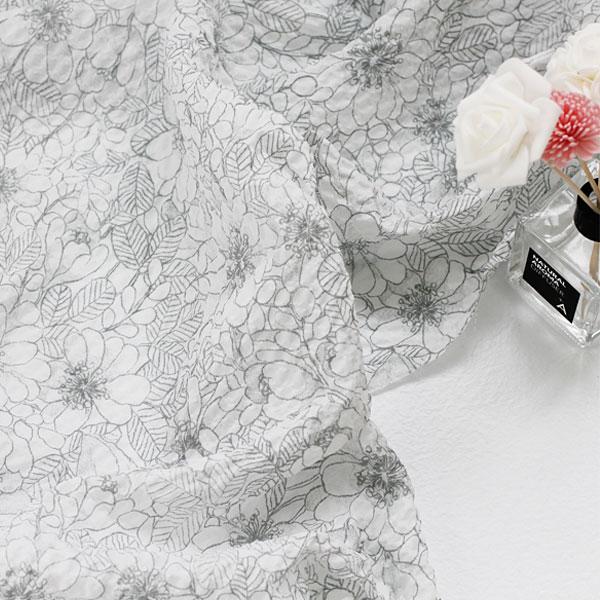【初夏の手作りマルシェ!特別価格】【リップル生地】インディゴフラワーリップル生地