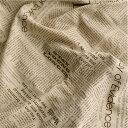 【 リネン 】ブラウンソフトリネン ニュースペーパー【 生地 布 手作り 手芸 英字 】【 商用利用可 】【 再入荷 特別価格 】