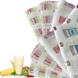 【ダブルガーゼはぎれ】I_need_Milk(アイニードミルク)大きいはぎれ4枚