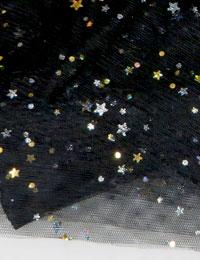 【メッシュ】BLACK kirakira mesh/ソフトメッシュ キラキラ 星 手芸 生地 手作り 衣装 材料 通販 魔法のハロウィンセール 特別価格