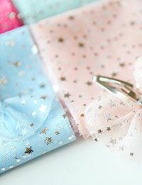 【初夏の手作りマルシェ!特別価格】【手芸テープ】星のきらきらメッシュリボン(5種類)