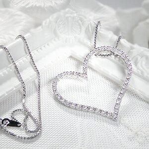 K18WG【1.0ct】オープンハートダイヤモンドネックレス