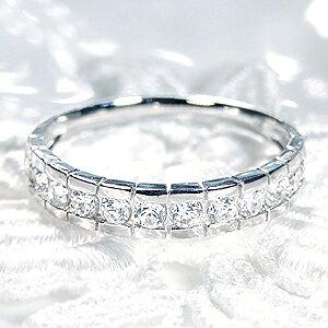 【送料無料】pt900 0.5ct ダイヤモンド ふちあり エタニティリング 無色透明【SIクラス】プラチナ 婚約指輪 結婚指輪 人気 ハーフエタニティ 重ね着けリング ダイヤ リング ダイア 指輪 0.5ct