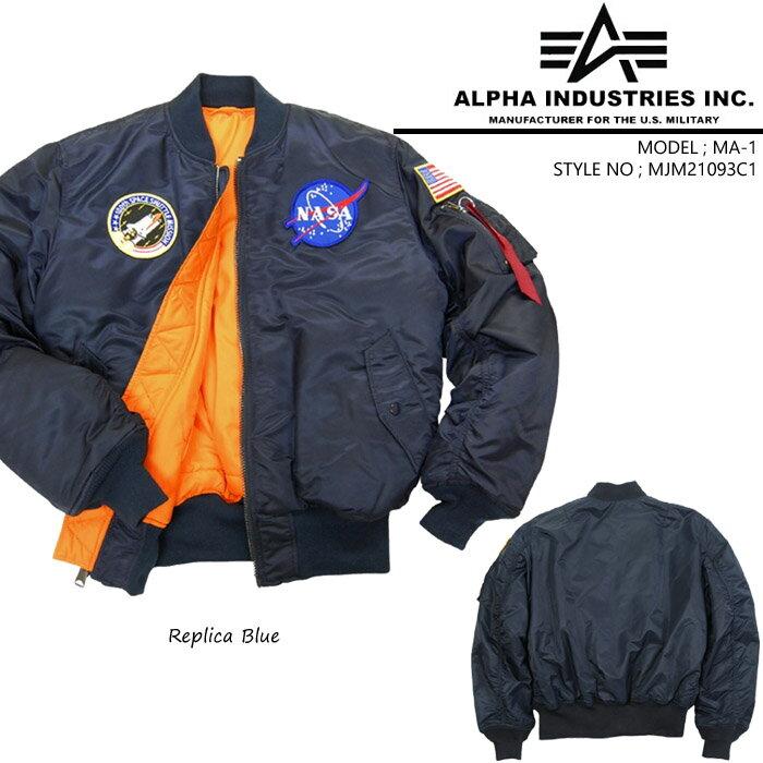 [アウトレット]Alpha NASA MA-1 Flight Jacket MJM21093C1 アルファ ミリタリー ナサ フライトジャケット 軍 ボマージャケット ds-a