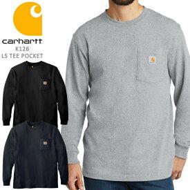 カーハート ポケット Tシャツ ロンT 長袖 CARHARTT WORKWEAR LONGSLEEVE POCKET T Shirt K126 ワーク▲[ブラック][グレー][ブルー]ds-Y