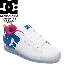[特典アリ][2足以上で送料無料]ディーシー スニーカー 靴 コートグラフィックSE DC Shoe COURT GRAFFIK SE White Black Cyan 白 ホワイト SHOE 300927-WCY スケシュー スケートボード スケボー ダッドシューズ ダッドスニーカー ds-Y
