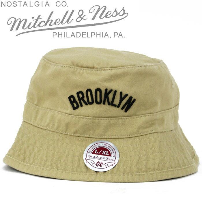 [あす楽]MITCHELL & NESS Blooklyn NETS Bucket Hat Khaki Solid ミッチェル&ネス ブルックリンネッツ バケットハット 帽子