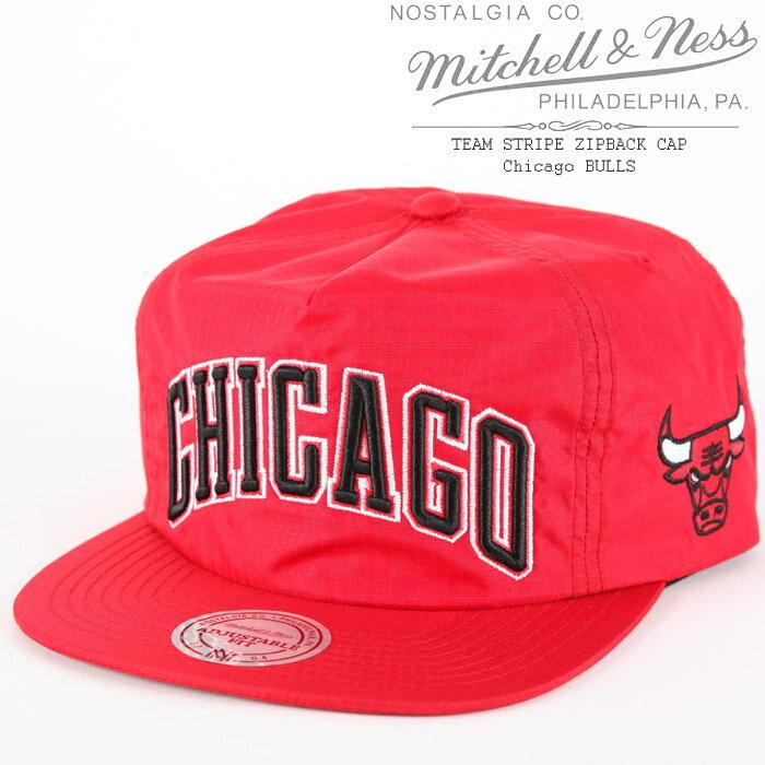 [あす楽]MITCHELL & NESS TEAM STRIPE ZIPBACK CAP Chicago BULLS ミッチェル&ネス チームストライプ シカゴブルズ ジップバック NBA ベースボールキャップ 帽子