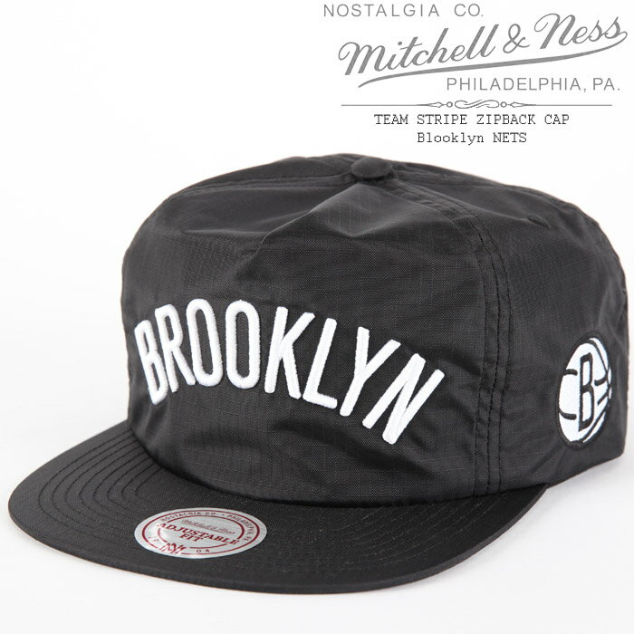 [あす楽]MITCHELL & NESS TEAM STRIPE ZIPBACK CAP Blooklyn NETS ミッチェル&ネス チームストライプ ブルックリンネッツ ジップバック NBA ベースボールキャップ 帽子