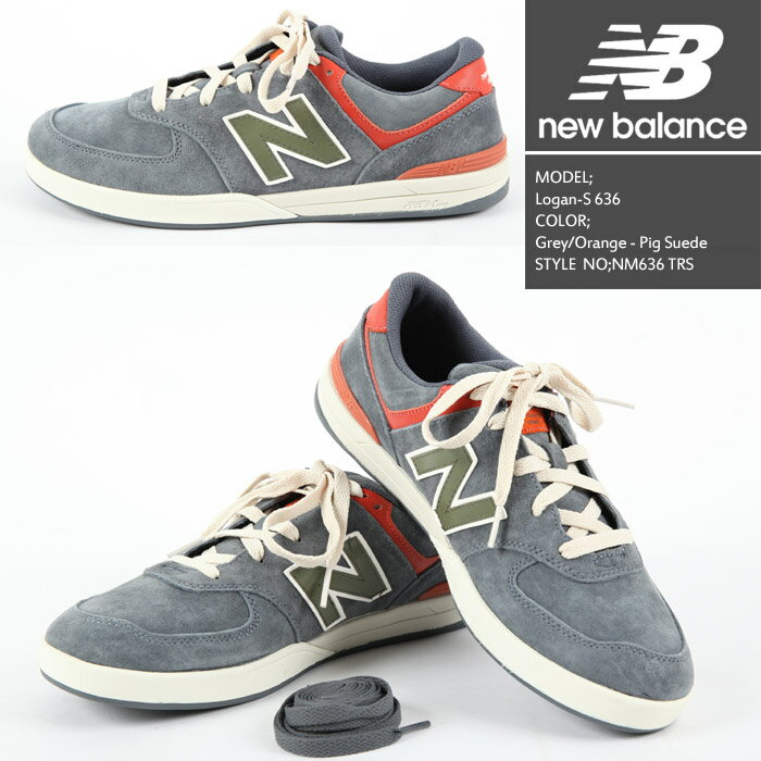 ニューバランス Logan-S 636 Grey/Orange - Pig Suede NM636 TRS NEW BALANCE ローガン 靴 スニーカー【S2】