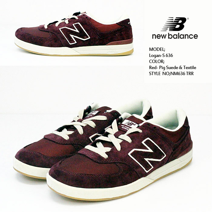 ニューバランス Logan-S 636 Red- Pig Suede & Textile NM636 TRR NEW BALANCE ローガン 靴 スニーカー【S2】