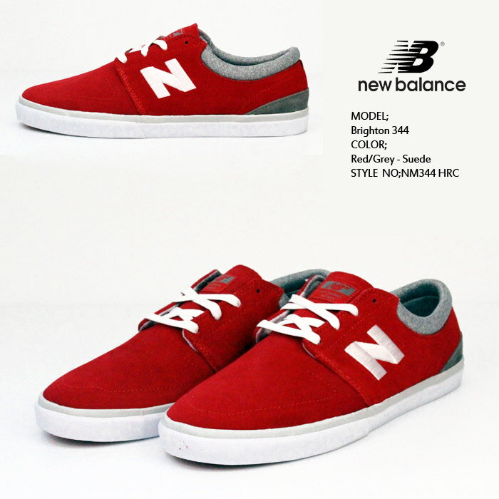 ニューバランス Brighton 344 Red/Grey - Suede NM344 HRC NEW BALANCE 靴 スニーカー【S2】