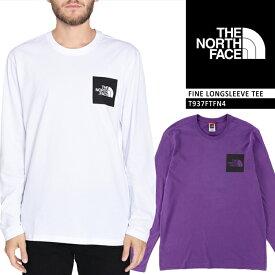 ノースフェイス Tシャツ ロンT THE NORTH FACE L/S FINE TEE T937FT ミニ スクエア ボックス ロゴTシャツ 長袖 メンズ 男性 ▲[ホワイト][パープル]