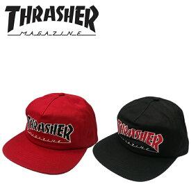 スラッシャー THRASHER MAGAZINE OUTLINED SNAPBACK CAP 帽子 スケーター スケボー キャップ プレゼント ギフト▲[ブラック][レッド]