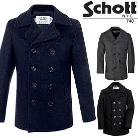 ショット Pコート Schott 740 ピーコート ダブル USモデル コード 防寒 米国製 アメリカ製 秋冬 メンズ 男性▲[ブラック][グレー][ブルー]ds-Y
