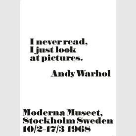 1968 アンディ・ウォーホル展 ポスター I never read... 70x100cm モノクロ 北欧 スウェーデン