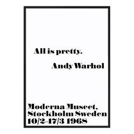 【3980円以上で送料無料!】1968 アンディ・ウォーホル展 ポスター All is pretty 70x100cm モノクロ 北欧 スウェーデン