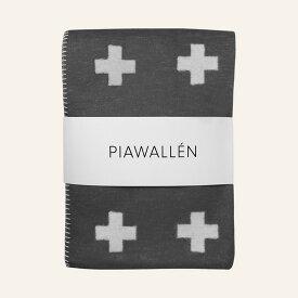 PIA WALLEN ブランケット 小 クロス柄 グレー オーガニック コットン 北欧 モダン ひざ掛け おしゃれ かわいい ベビー スウェーデン