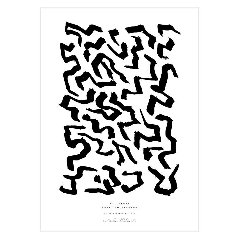 【生産終了・在庫限り】STILLEBEN 「迷路」アートプリントポスター A4 モノクロ 北欧 デンマーク【メール便OK】
