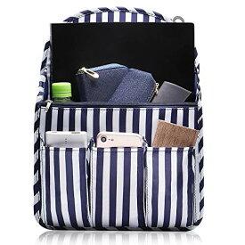 NET-O バッグインバッグ A4 口金リュック リュックインバッグ インナーバッグ デイパック【 リュックインに便利な バックインバック レディース 】ストライプデザイン (レギュラーサイズ)