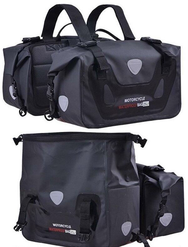 サイドバッグ 完全防水 大容量50L (25L×2個) 完全防水 取り付け簡単 ブラック ツーリング用品 バイク用サドルバッグ シートバッグ