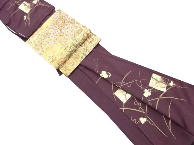 金彩葡萄に色紙鶴松竹梅模様訪問着・袋帯セット【リサイクル】【中古】