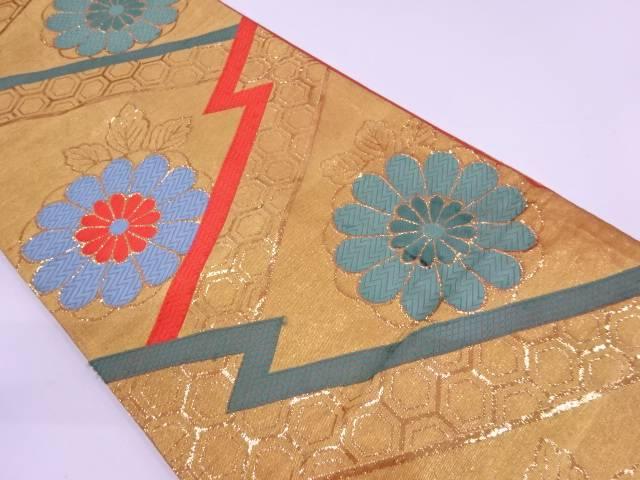 古典柄に菊模様織出し袋帯【大正ロマン】【中古】