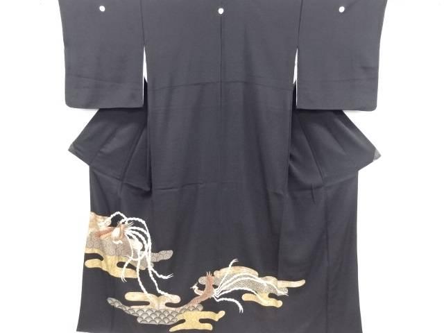 金彩ヱ霞に鳳凰模様刺繍留袖(比翼付き)【リサイクル】【中古】