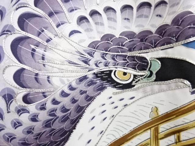 城に鷹模様刺繍紋付男児着物【アンティーク】【中古】