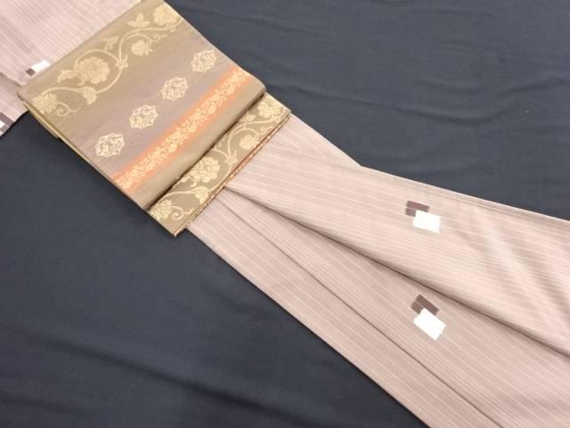 縞に枡模様織り出し手織りたて節紬着物・袋帯セット【リサイクル】【中古】