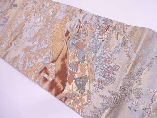 四季倭絵銭形屏風文織出し袋帯【リサイクル】【中古】