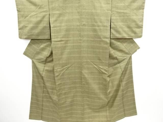 草木染格子織り出し手織り真綿紬着物【リサイクル】【中古】