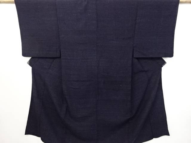 織り柄手織り真綿紬単衣男物着物【リサイクル】【中古】