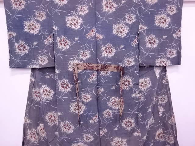 絹紅梅花模様単衣長襦袢【アンティーク】【中古】