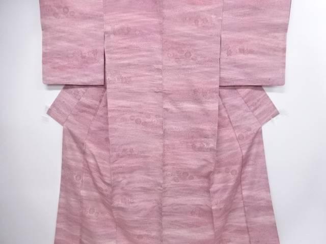 すくい織り市松に梅・楓・菊模様織り出し手織り紬着物【アンティーク】【中古】