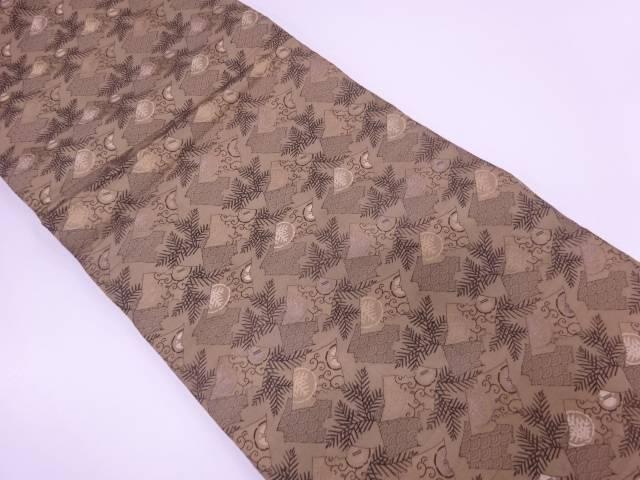 破れ色紙に青海波・松模様織出し丸帯(材料)【アンティーク】【中古】