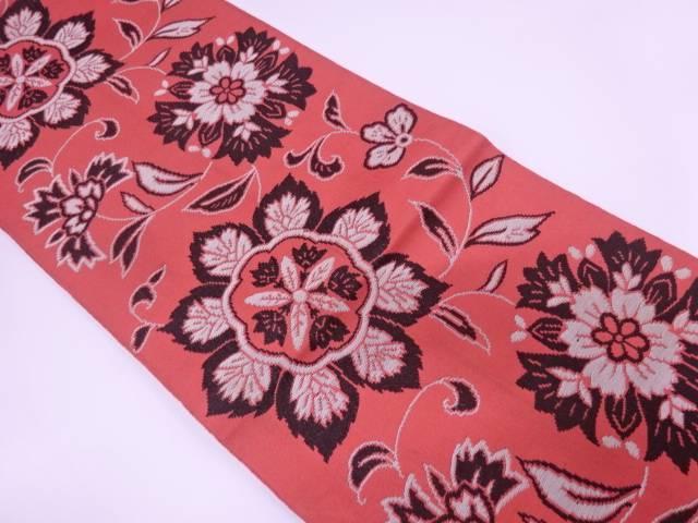 草花模様織出し袋帯(材料)【アンティーク】【中古】