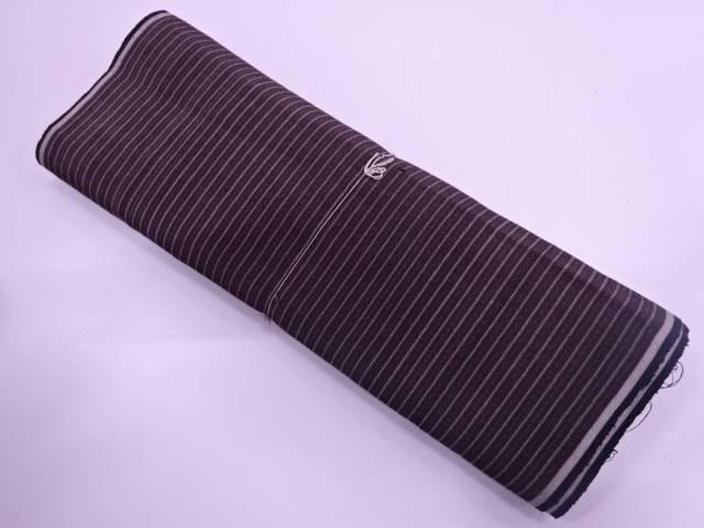 手織り紬縞模様織出し着物洗い張り【アンティーク】【中古】