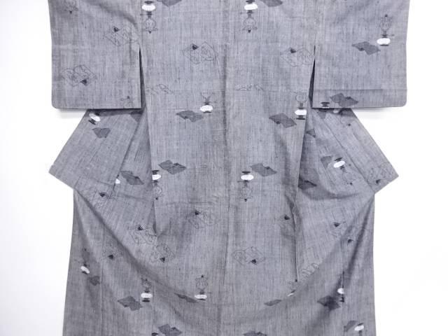 読本にランプ模様織り出し手織り真綿紬越後絵絣単衣着物【アンティーク】【中古】
