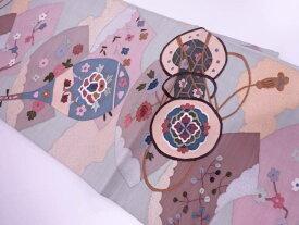 すくい織地紙に琵琶・鼓模様織出し袋帯【リサイクル】【中古】