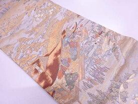 四季倭絵銭形屏風織出し袋帯【リサイクル】【中古】